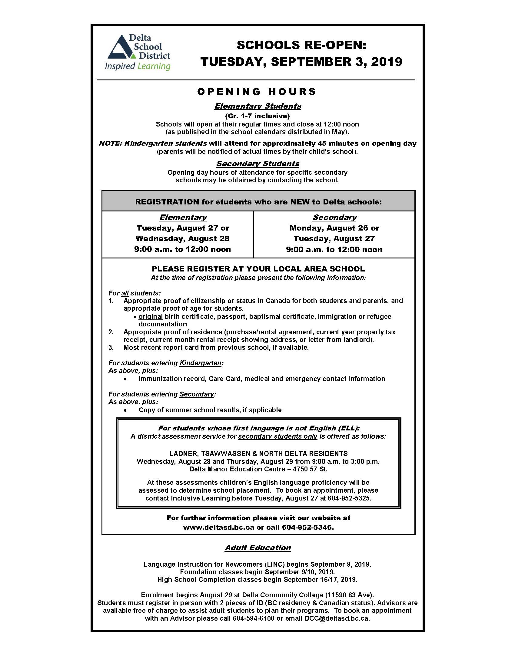 Back to School Opening Hours & Registration Info - Delta School District